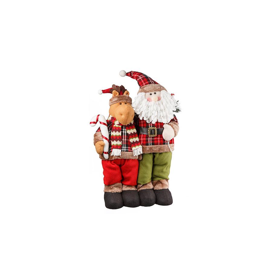 Boneco Abraço Papai Noel E Rena Country