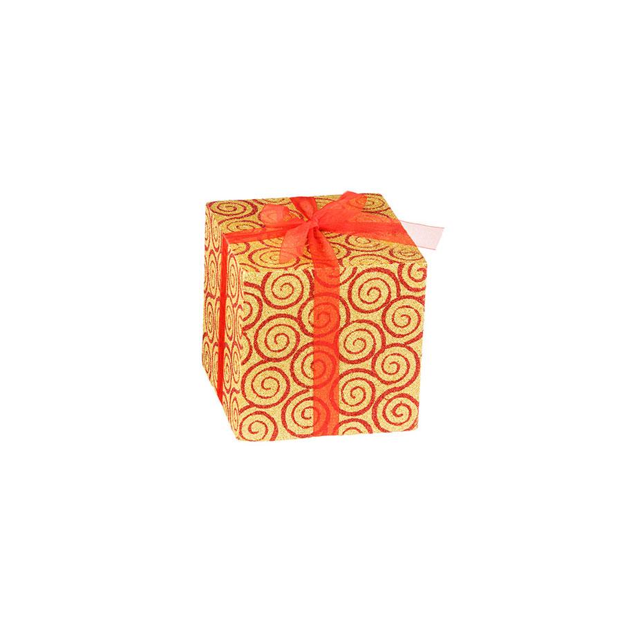 Caixa De Presente Cubo Dourada Vermelha Luminare 14Cm