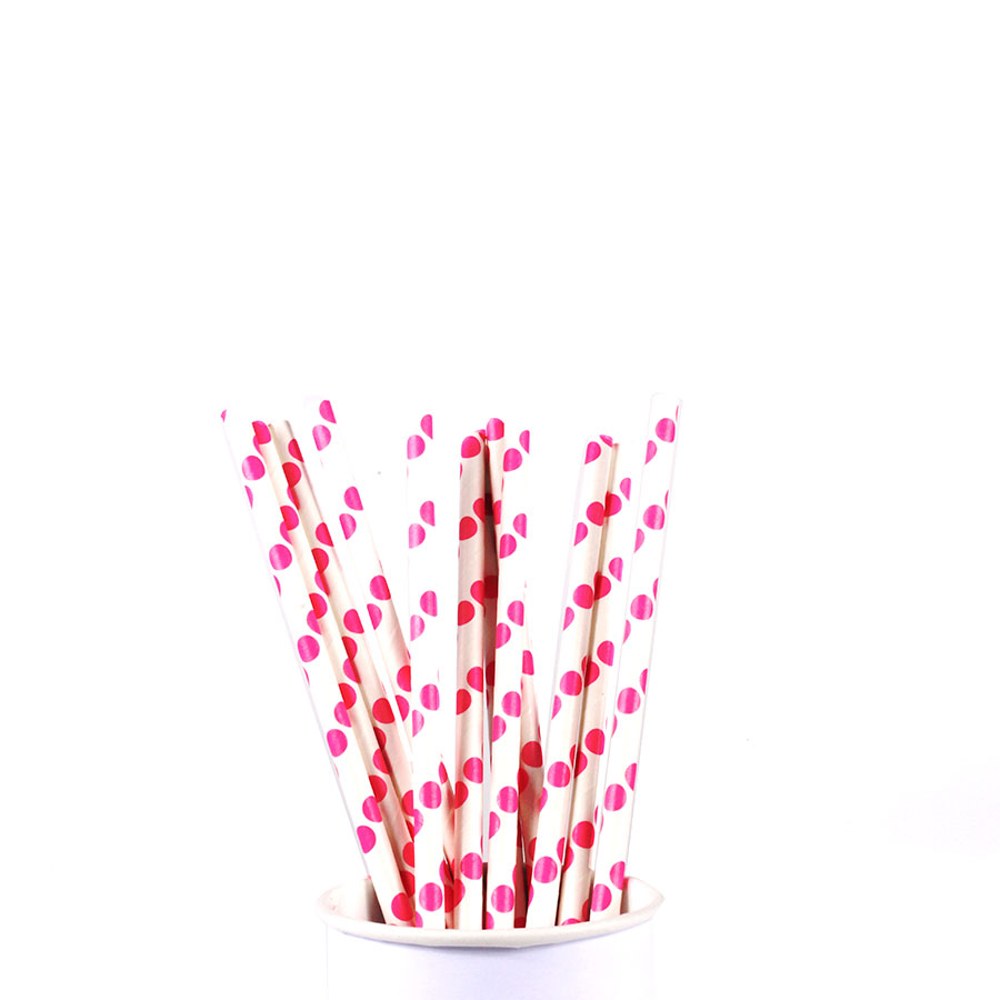 Canudo De Papel Vintage Branco Com Bolas Pink 12Un