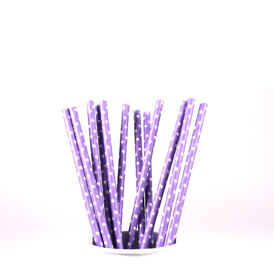 Canudo De Papel Vintage Lilás Com Bolinhas Brancas 12Un
