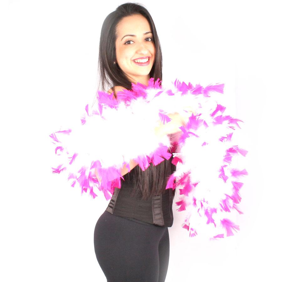 Estola Boá Branca De Pontas Pink
