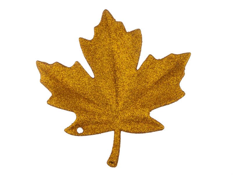 Folha Gliter Plástico Dourado 13Cm Com 2 Unidades
