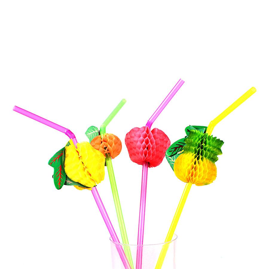 Kit Com 360 Canudos Frutas Para Drinks Coloridos