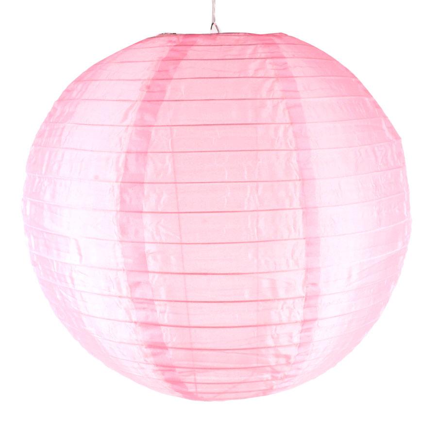 Luminária Redonda Tecido 30Cm Rosa