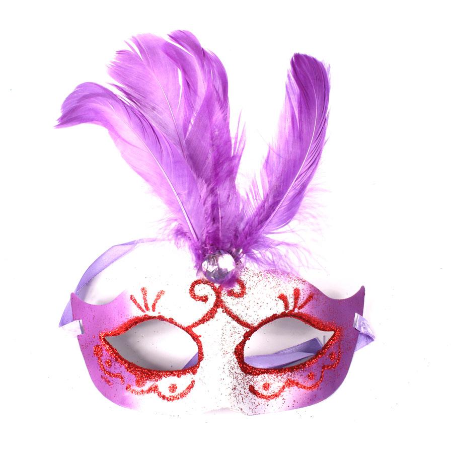 Máscara Penas Degradê Lilás