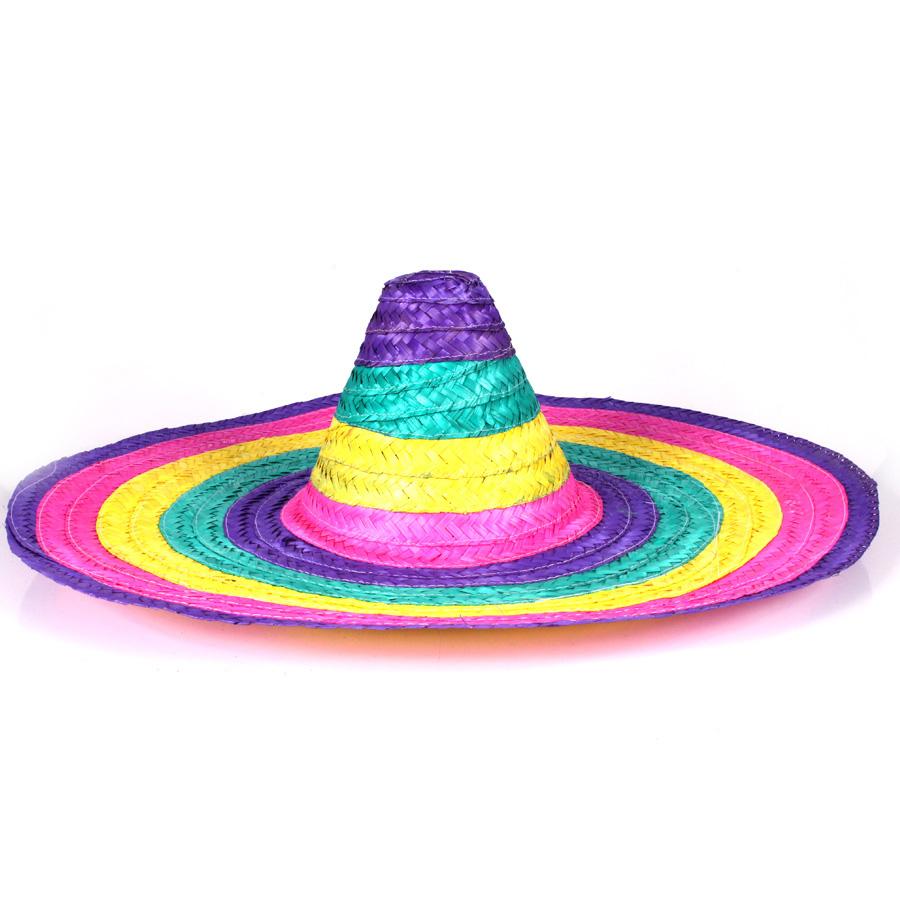 Chapéu Mexicano Sombrero de Palha - Colorido