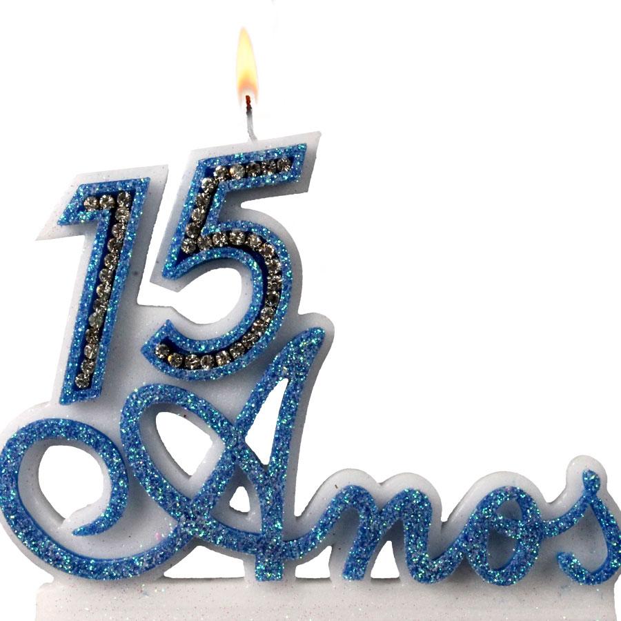 Vela 15 anos azul alu festas for Cubre sillas para 15 anos