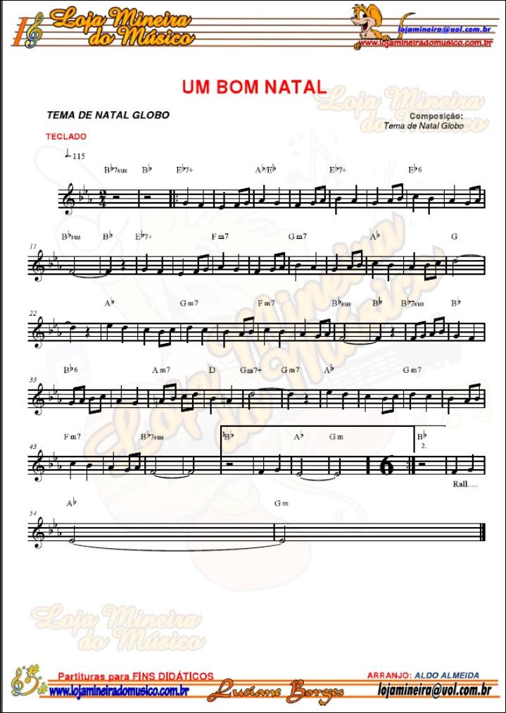 Teclado Partituras de Natal com Midi e MP3 Playbacks Natalinos | Partituras de Músicas de Natal para Teclado com Melodias Cifradas para o Natal