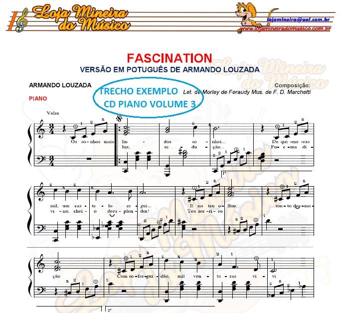 Partituras para Piano Volume 3 ( Brasileiras, Bossa Nova, Italianas, Francesas e Filmes ) Clave de Sol, Clave de Fá, Cifras e Letras nas Partituras! Compatível também com Teclado, Acordeon.