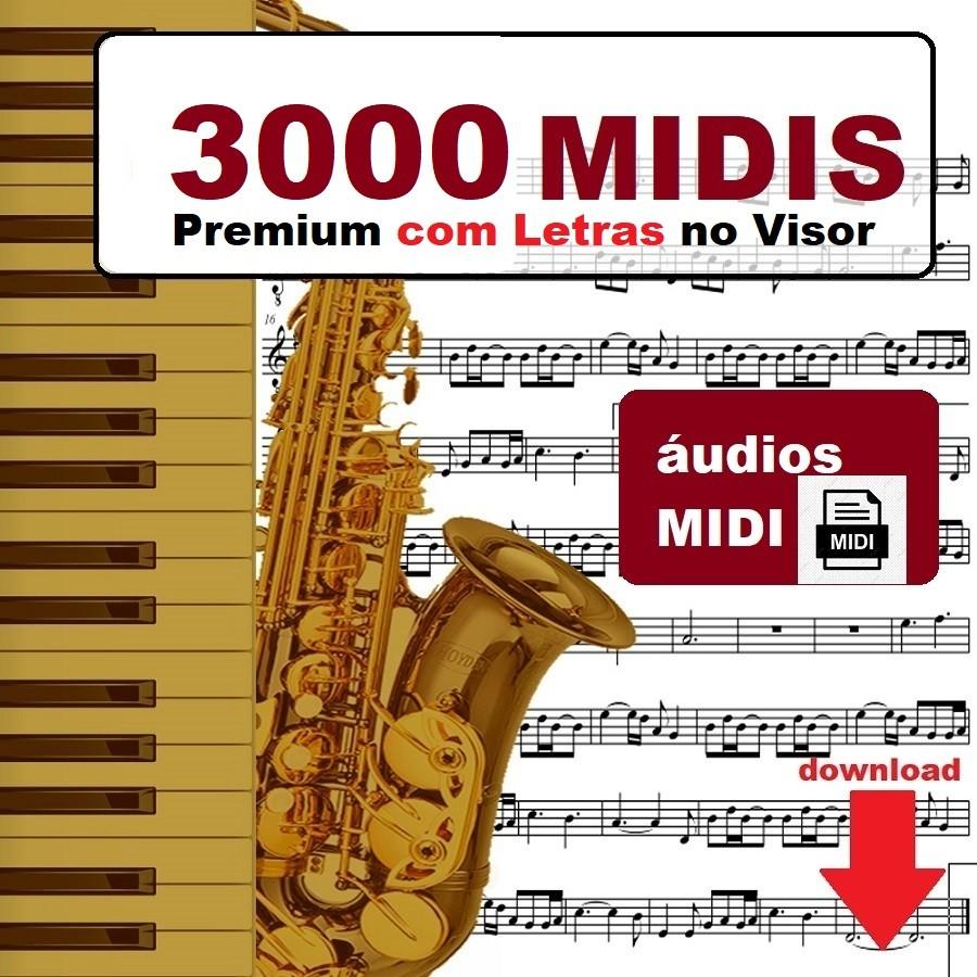 3000 Midis com Letra no Visor do Teclado Lyrics (Pacote)