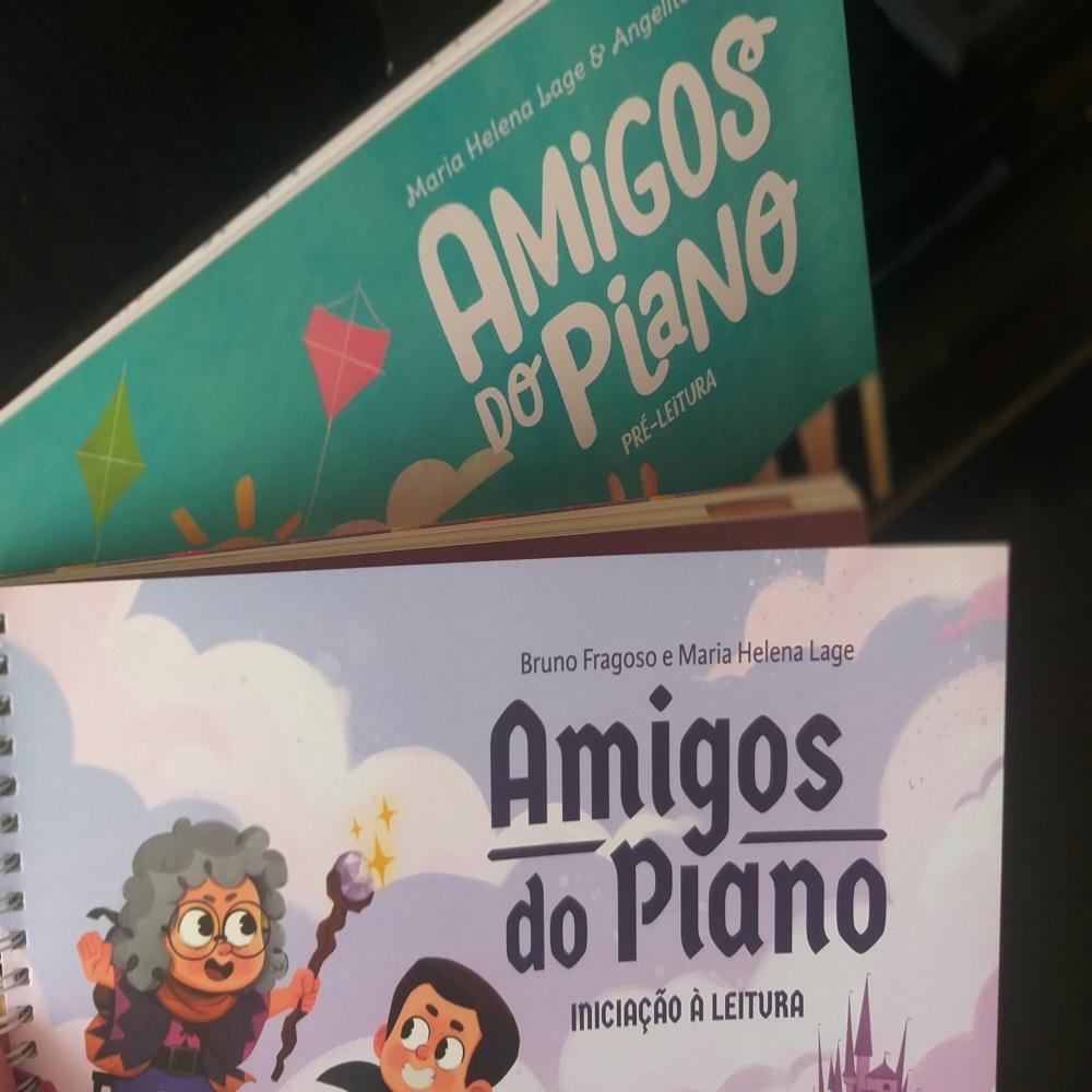 Kit 2 Livros de Piano Amigos do Piano Pré Leitura e Leitura para iniciantes | Livros para Aulas de Piano Kit para crianças a partir de 4 anos e também adultos iniciantes na música | Lumah Cultura