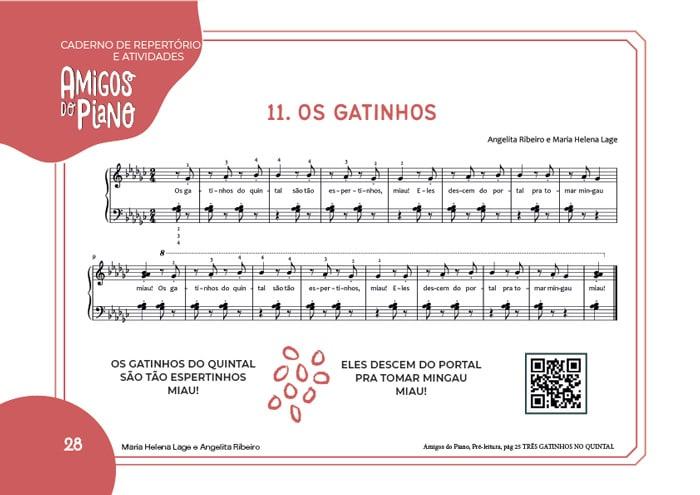 Livro Impresso Amigos do Piano Caderno de Atividades do Pré Leitura Lumah Cultura