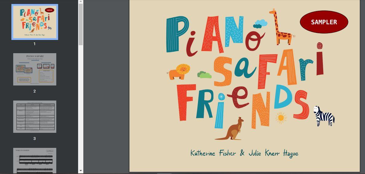 PIANO SAFARI FRIENDS PACK STUDENT  (Livro principal, PDF decoração do piano, adesivos, áudio)