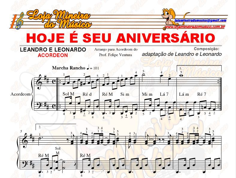 Avulsa 10 Partituras para Acordeom Acordeon Iniciante e Intermediário PDF + Áudios do Professor Felipe | Partituras Brasileiras, Forró, Sertanejos nas Claves de Sol e Fá, mais Cifra Compatível Teclado