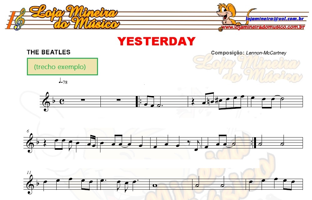SAX ALTO BEATLES Partituras e Playbacks MP3 e Midi dos Beatles