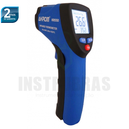 KR550 Termômetro infravermelho com registros de máx/mín -50 á 550°C