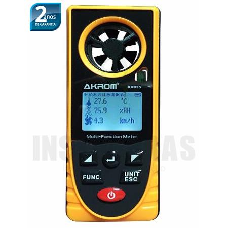 KR875 temperatura, umidade, ponto de orvalho, vento frio, velocidade do vento, pressão barométrica, altitude e iluminamento 8x1