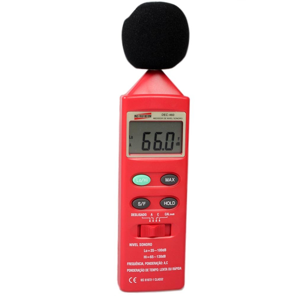 DEC-460 Medidor de nível sonoro digital portátil (Decibelímetro) com certificado de calibração
