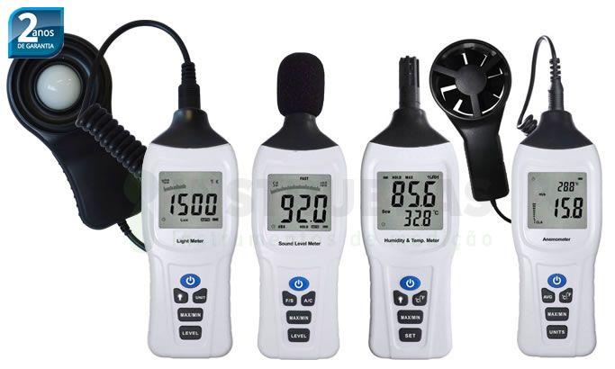 Kit Higiene Ocupacional: Luxímetro (KR832) + Decibelímetro (KR833) + Termo-higrômetro (KR831) + Anemômetro (KR835)