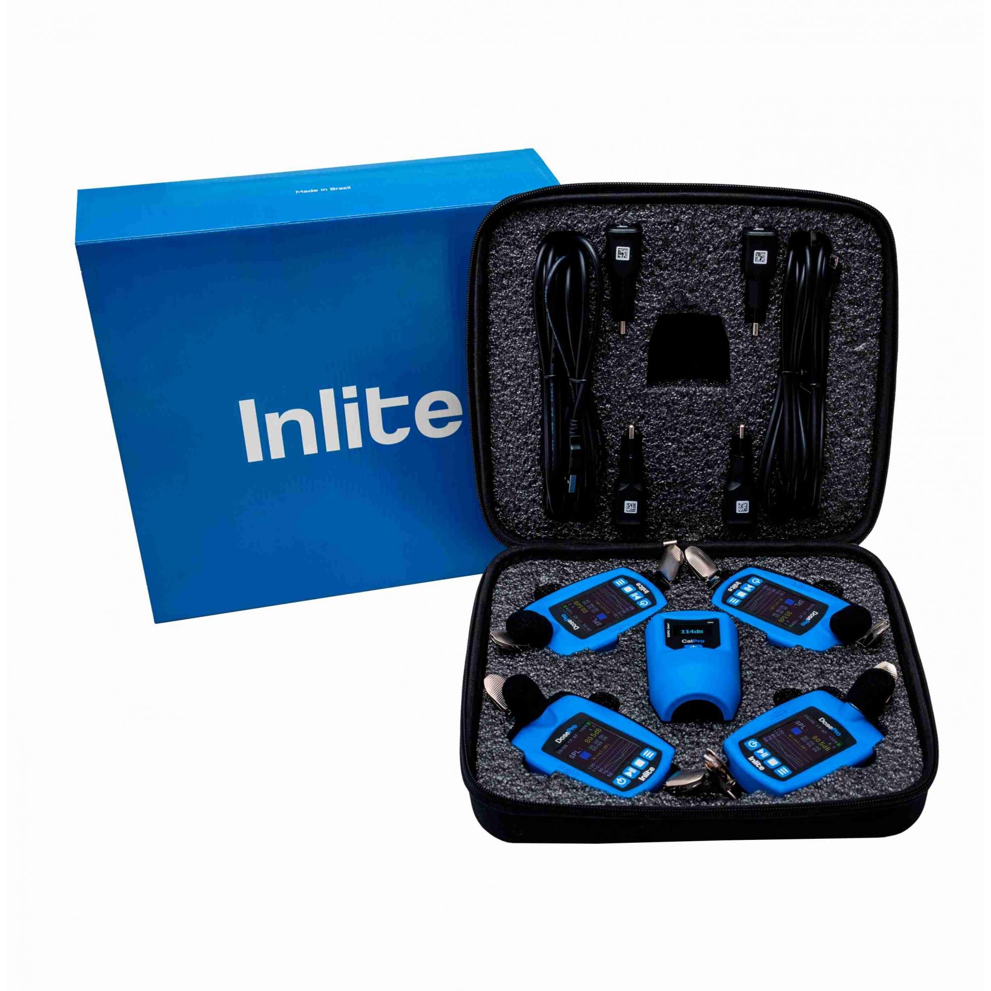 Kit para Higiene Ocupacional composto por 4 dosímetros de ruído DoseMax, 1 calibrador acústico CalPro e estojo para transporte