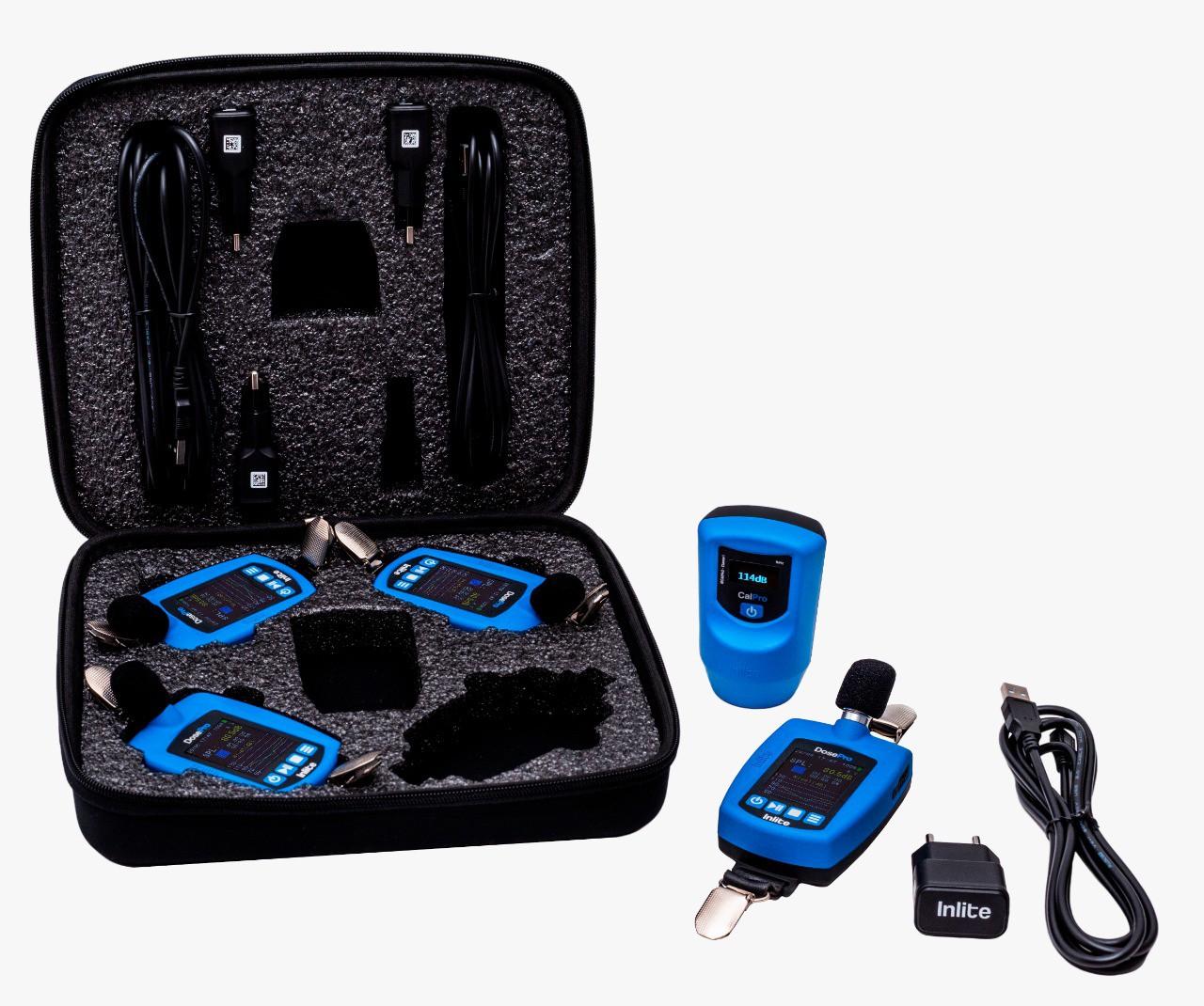 Kit para Higiene Ocupacional composto por 4 dosímetros de ruído DoseMax, 1 calibrador acústico CalPro e estojo para transporte  - Instrubras Instrumentos de Medição
