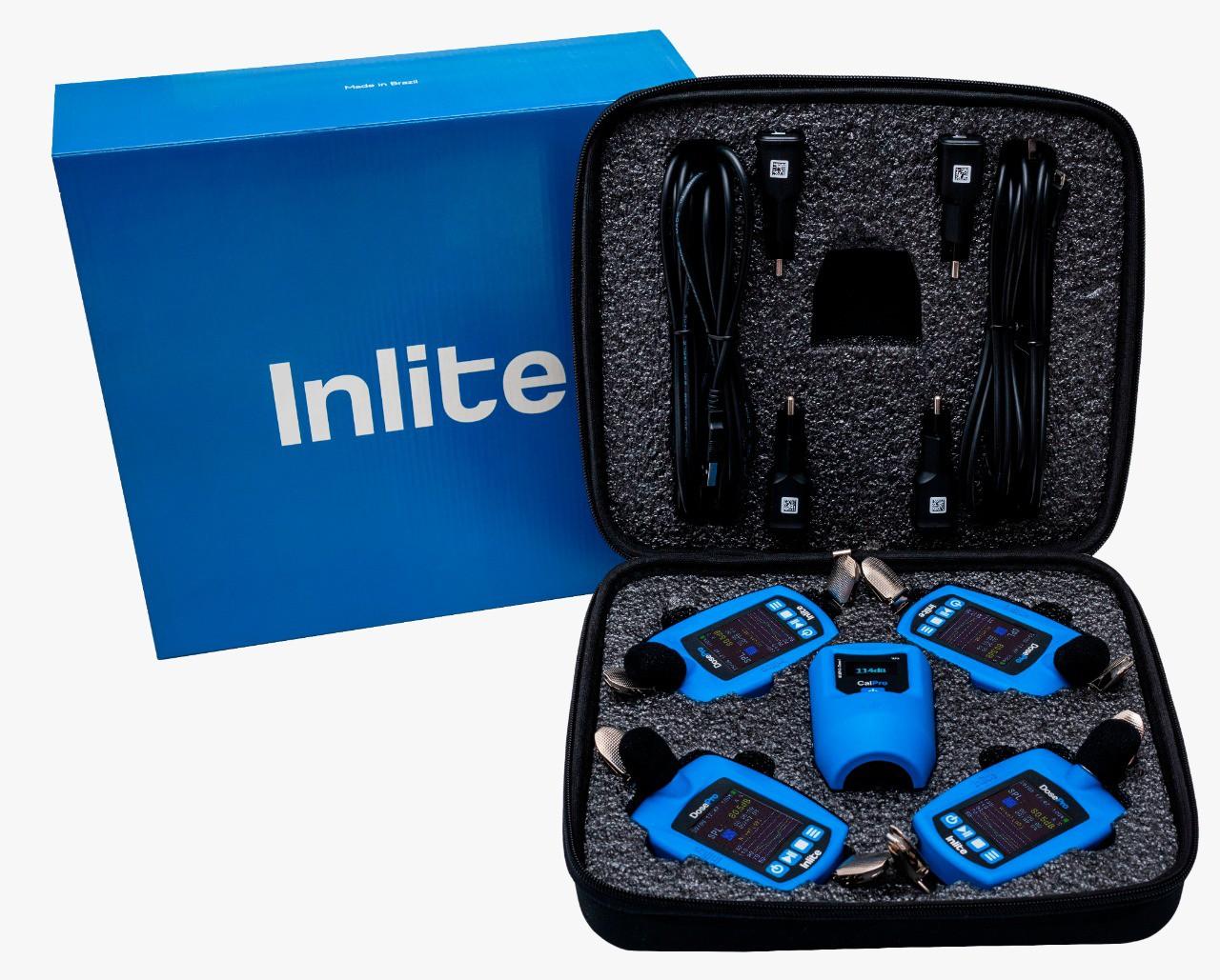 Kit para Higiene Ocupacional composto por 4 dosímetros de ruído DosePro, 1 calibrador acústico CalPro e estojo para transporte  - Instrubras Instrumentos de Medição