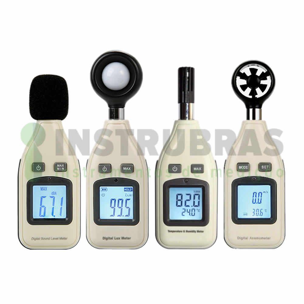 Kit Segurança do Trabalho - Decibelímetro + Luxímetro + Termo Anemômetro + Termo Higrômetro - Todos com certificado de calibração