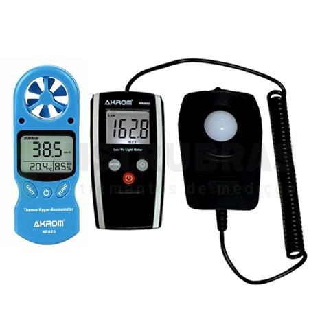 Kit Promocional - KR-825 Termo-higro-anemômetro digital 3X1 + KR-802 Luxímetro - Com certificado de calibração