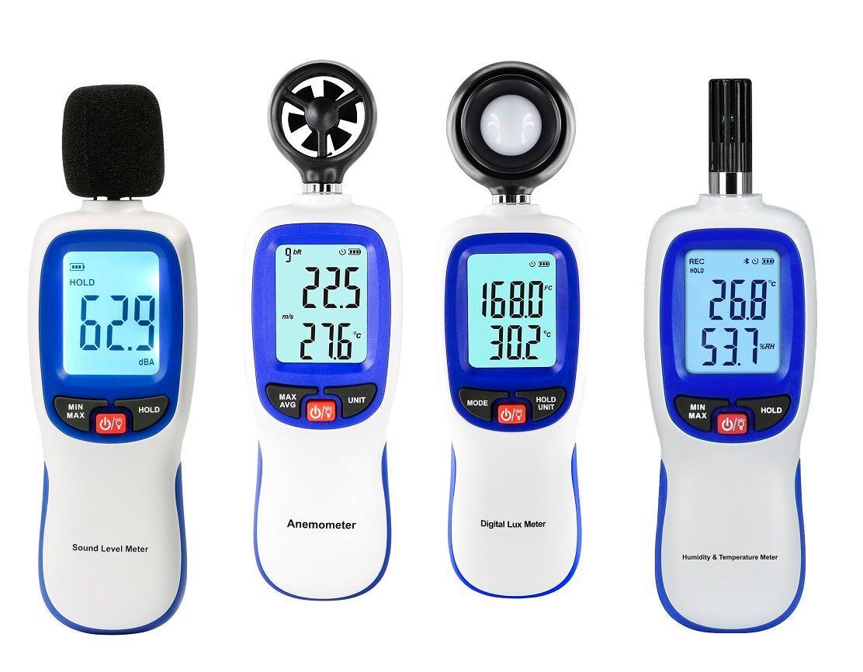 Kit segurança com Decibelímetro, Luxímetro, Termo-higrômetro, Termo-Anemômetro e Certificado de Calibração