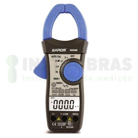 KR300 Alicate amperímetro AC/DC true rms com visor duplo