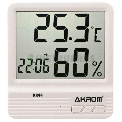 KR44 Termo higrômetro digital com relógio, alarme e calendário