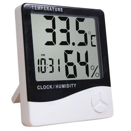 KR45 Termo higrômetro digital com relógio, alarme e calendário