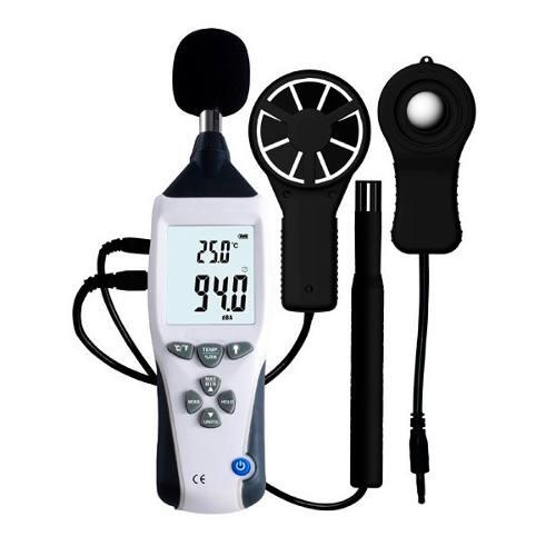 KR500 Termo-Higro-Decibelimetro-Luxímetro-Anemômetro 5X1 Digital Portátil - Com Certificado de Calibração