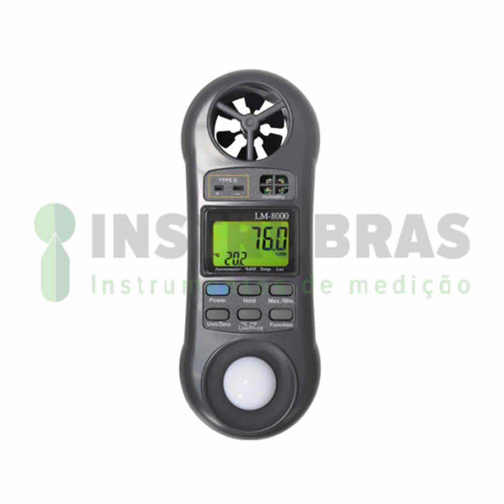LM8000 Termo Higro Luxímetro Anemômetro digital - 4x1 com certificado de calibração