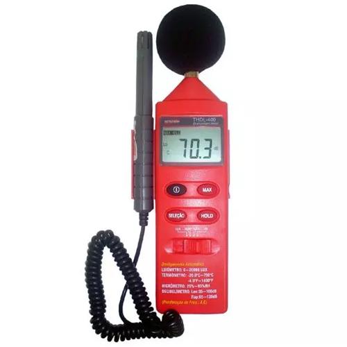 THDL-400 Termo Higro Decibelímetro Luxímetro 4x1 Com Certificado de Calibração