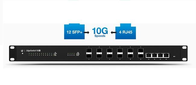 UBIQUITI EDGEMAX ES-16-XG BR EDGESWITCH 12P SFP+4P 10G RJ45  - TECTECH BRASIL COMPUTERS