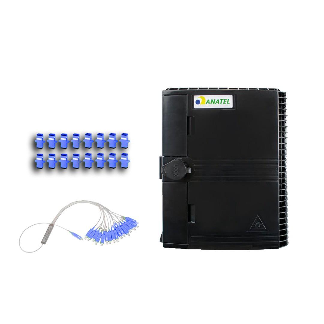 KIT CTO COM TRAVA HOMOLOGADA 1*16 + SPLITTER 1*16 UPC + 16 CONECTORES UPC (AZUL)   - TECTECH BRASIL COMPUTERS