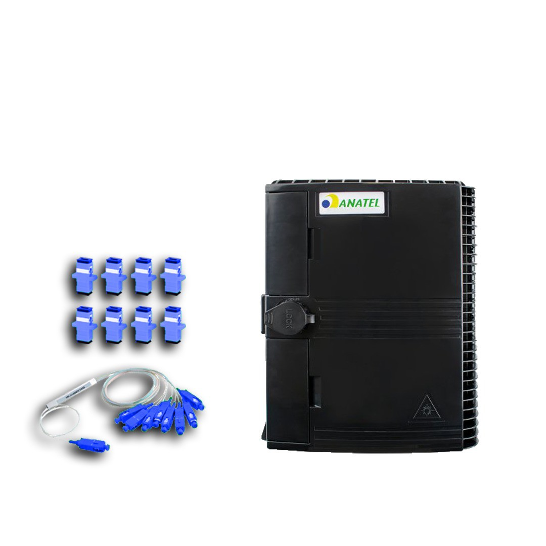 KIT CTO COM TRAVA HOMOLOGADA 1*16 + SPLITTER 1*8 UPC + 8 CONECTORES UPC (AZUL)   - TECTECH BRASIL COMPUTERS