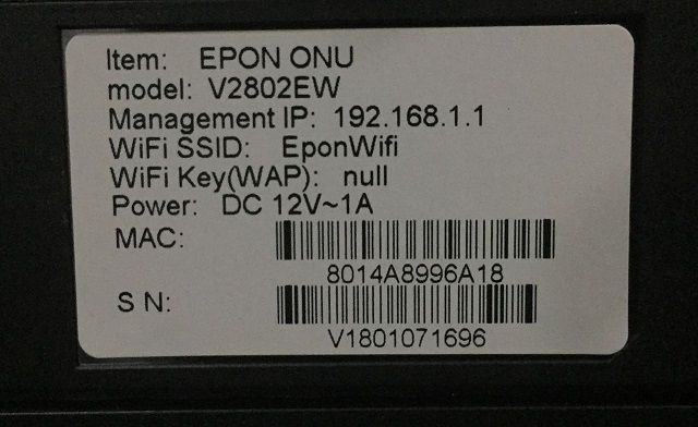 ONU EPON V2802EW 1GE+1FE BRIDGE WIFI SHIPSET REALTEK 9602  - TECTECH BRASIL COMPUTERS