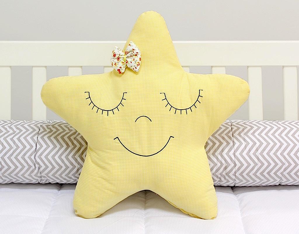 Almofada Estrela Xadrez Amarelo