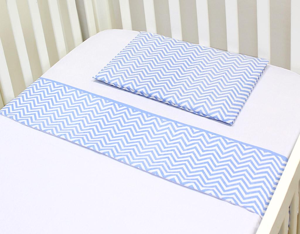 Lençol para Berço 3 peças 100 % Algodão Baby Chevron Azul