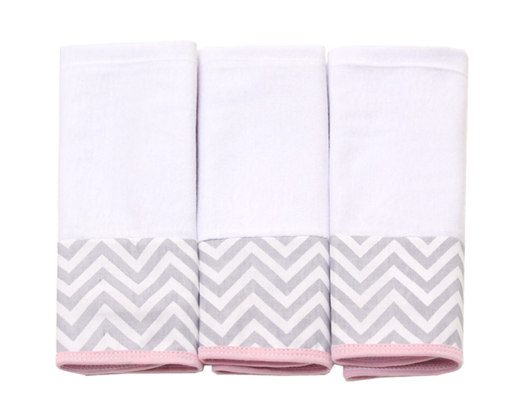 Jogo de toalha de boca em Malha - Baby Chevron Cinza e Rosa