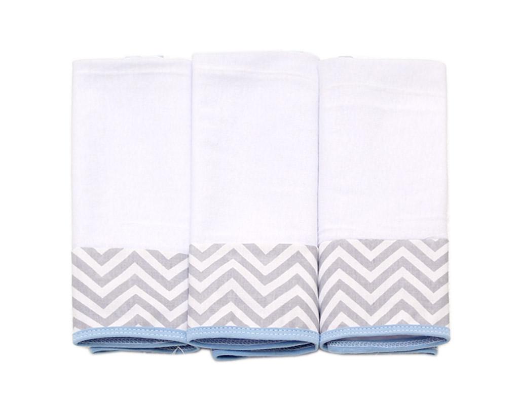 Jogo de toalha de boca em Malha - Baby Chevron Cinza e Azul