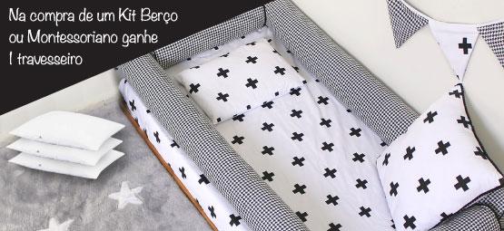 Na compra de 1 kit berço ou 1 kit mini cama montessoriano ganhe 1 travesseiro!