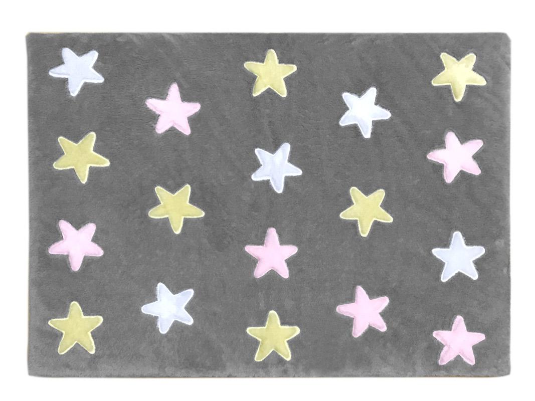 Tapete de Pelúcia Estrelas Cinza e Rosa (1,20 x 0,90m)