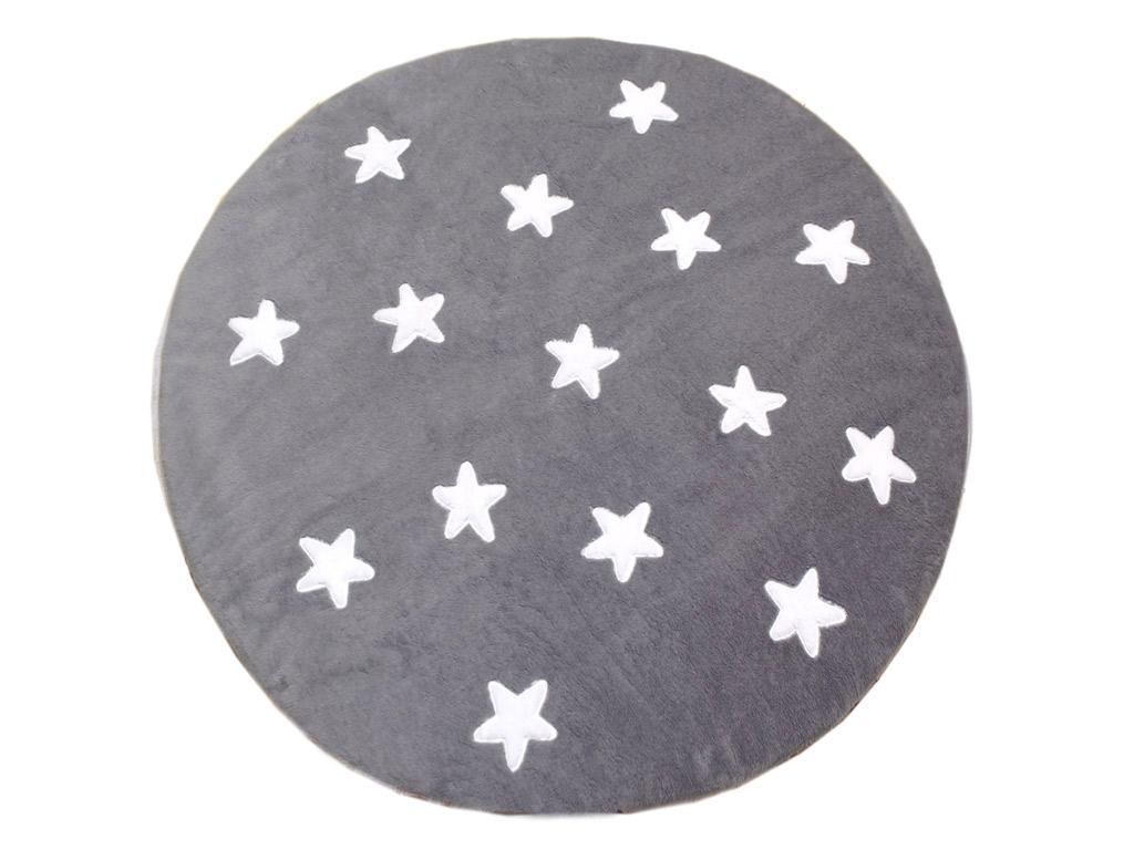 Tapete de Pelúcia Redondo Estrelas Cinza e Branco (1,10 x 1,10m)