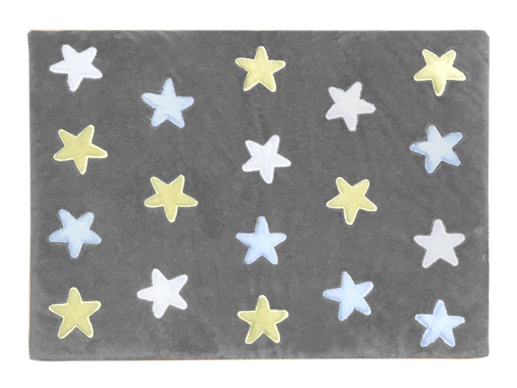 Tapete de Pelúcia Estrelas Cinza e Azul (1,60 X 1,20m)