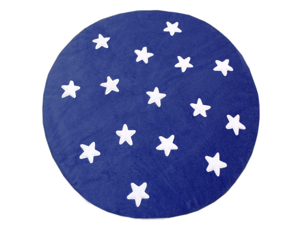 Tapete de Pelúcia Redondo Estrelas Marinho e Branco (1,40 x 1,40m)
