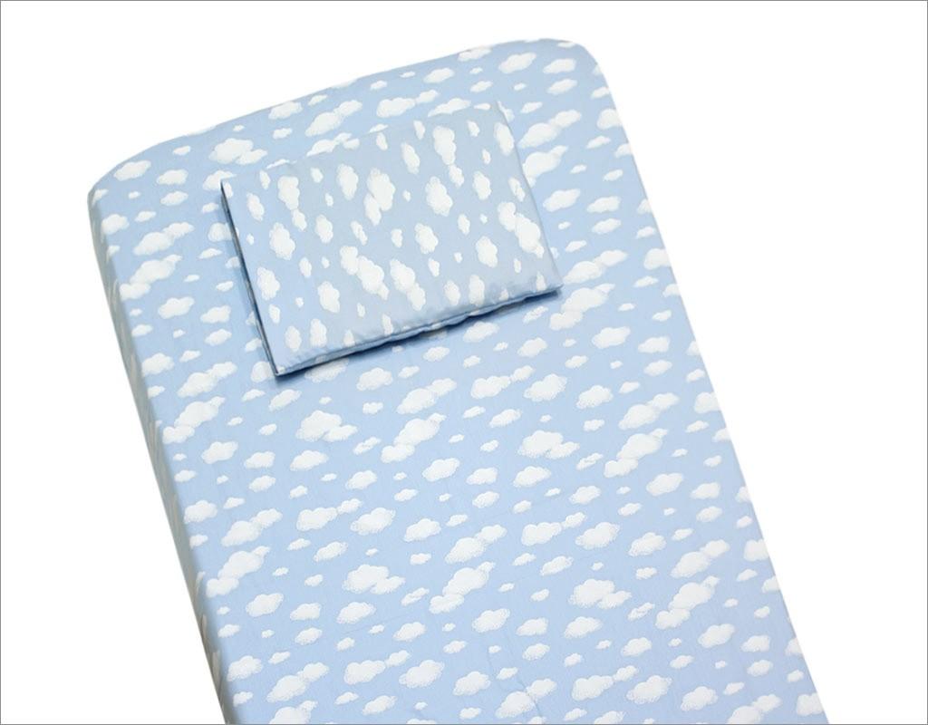 Lençol para Berço 2 peças 100 % Algodão Nuvem Azul