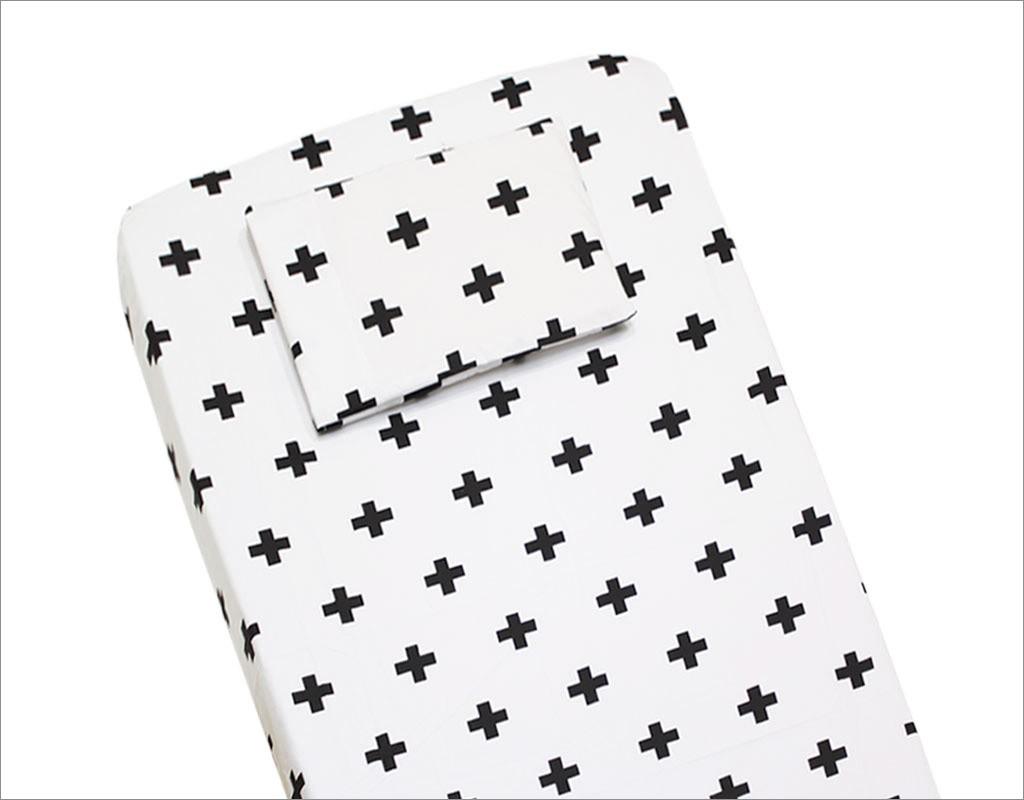 Lençol para Berço 2 peças 100 % Algodão Black Cross